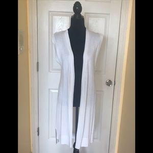 Tie back long duster vest NWOT